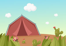 Paysage avec la tente illustration stock