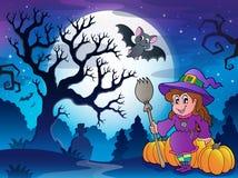 Paysage avec le caractère 4 de Halloween Photos libres de droits