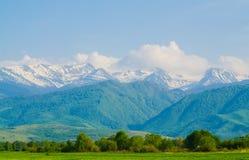 Paysage avec le fond de montagnes Images stock
