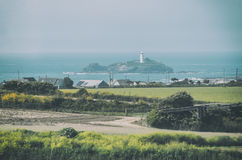 Paysage avec le phare de Godrevy Photo libre de droits