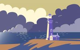 Paysage avec le phare, illustration de vecteur Coucher du soleil en mer après tempête Photos libres de droits