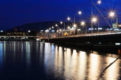 Paysage avec le pont à travers le Lac Léman Image libre de droits