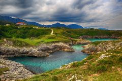 paysage avec le rivage d'océan aux Asturies, Espagne Photos libres de droits