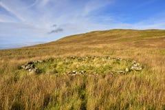 Paysage avec le vieux parc à moutons de pierres sèches circulaire photo stock