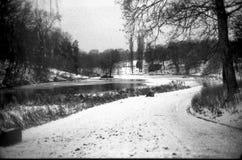 Paysage avec le vieux regard de lac avec le film Photographie stock libre de droits