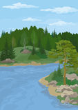 Paysage avec les arbres et la rivière Images stock