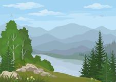 Paysage avec les arbres et le lac mountain illustration de vecteur