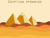 Paysage avec les pyramides égyptiennes Désert de papier illustration libre de droits