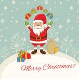Paysage avec Santa Claus, des cadeaux et des flocons de neige Vecteur IL Photographie stock libre de droits