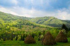 Paysage avec trois meules de foin en montagnes carpathien image libre de droits