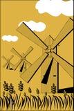 Paysage avec un moulin à vent Photos stock