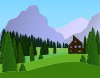 Paysage avec une maison dans les montagnes For?t et champs impeccables conception de coupe du papier 3d La publicit? du voyage et illustration de vecteur