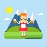 Paysage bavarois de fille illustration libre de droits