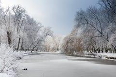 Paysage blanc d'hiver avec la neige fraîche sur l'étang et les arbres congelés Photographie stock libre de droits