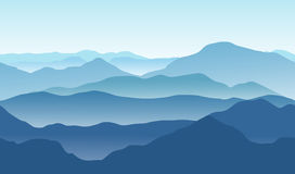 Paysage bleu de montagnes en été Fond sans couture Illustration Libre de Droits