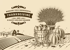 Paysage Brown de thanksgiving de vintage illustration stock