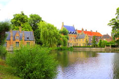 Paysage Bruges Belgique de bâtiments de lac Minnewater Photos libres de droits