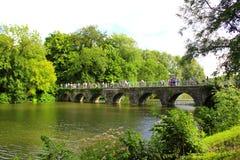 Paysage Bruges Belgique de lac Minnewater de pont d'amour Images libres de droits
