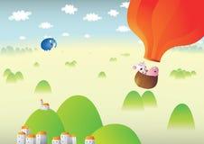 Paysage brumeux avec Baloon rouge illustration libre de droits