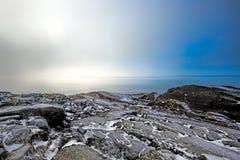 Paysage brumeux d'hiver Photographie stock libre de droits