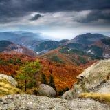 Paysage brumeux dans la montagne de Rhodope Photographie stock