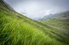 Paysage brumeux de montagne des Alpes d'Allgau Photo stock