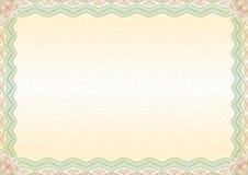Paysage brun vert de frontière de certificat Photographie stock