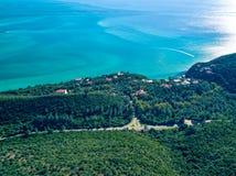 Paysage côtier d'océan de vue aérienne de parc naturel Images stock