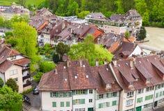 Paysage côtier Fleuve d'Aare, Berne Photo libre de droits