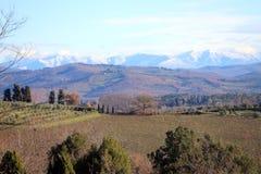 Paysage caractéristique de la Toscane en automne Les collines du chianti au sud de image stock