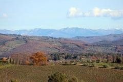 Paysage caractéristique de la Toscane en automne Les collines du chianti au sud de photo stock