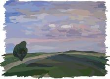 Paysage ; champ et ciel bleu Photographie stock