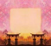 Paysage chinois abstrait avec un cadre à l'arrière-plan Images libres de droits