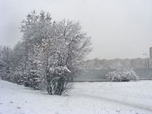 Paysage of city in snow. Minsk, Belarus Royalty Free Stock Photography