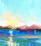 Paysage coloré abstrait de peinture à l'huile illustration stock