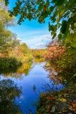 Paysage coloré d'automne un jour ensoleillé avec des arbres avec l'eau et des nuages Photographie stock libre de droits