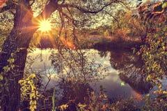 Paysage coloré d'automne un jour ensoleillé avec des arbres avec l'eau et des nuages Photo libre de droits