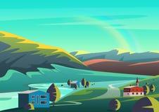 Paysage coloré d'illustration de bande dessinée de vecteur avec la ville de peu de maisons placée sur des terres de vallée à dist Photos stock