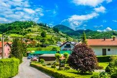 Paysage coloré dans Zagorje, village de Djurmanec Photographie stock