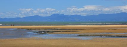 Paysage coloré par pastel, scène de plage Photographie stock