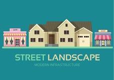Paysage coloré plat de rue de bâtiments de ville de vecteur Conception de l'avant-projet de fond d'icône Fond urbain de paysage d illustration libre de droits