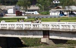 Paysage coréen du nord de village Images stock