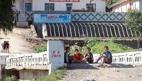 Paysage coréen du nord de village Photo stock
