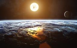 Paysage cosmique de la terre Lune Sun Système solaire Des éléments de l'image sont fournis par la NASA illustration stock