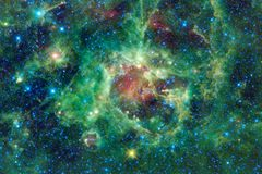 Paysage cosmique, papier peint impressionnant de la science-fiction avec l'espace extra-atmosph?rique sans fin images libres de droits
