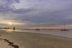 Paysage crépusculaire d'aube de plage d'Algarve Cavacos chez Ria Formosa humide Photo libre de droits