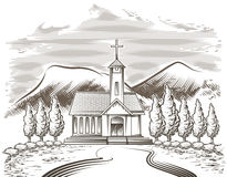 Paysage d'église Photos stock