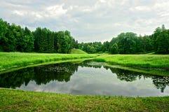 Paysage d'été avec le lac, la forêt et le ciel nuageux Image libre de droits