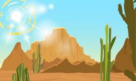 Paysage d'ÉTÉ Désert avec des cactus, le soleil étouffant Photos libres de droits
