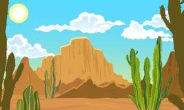 Paysage d'ÉTÉ Désert avec des cactus, le soleil étouffant Photos stock